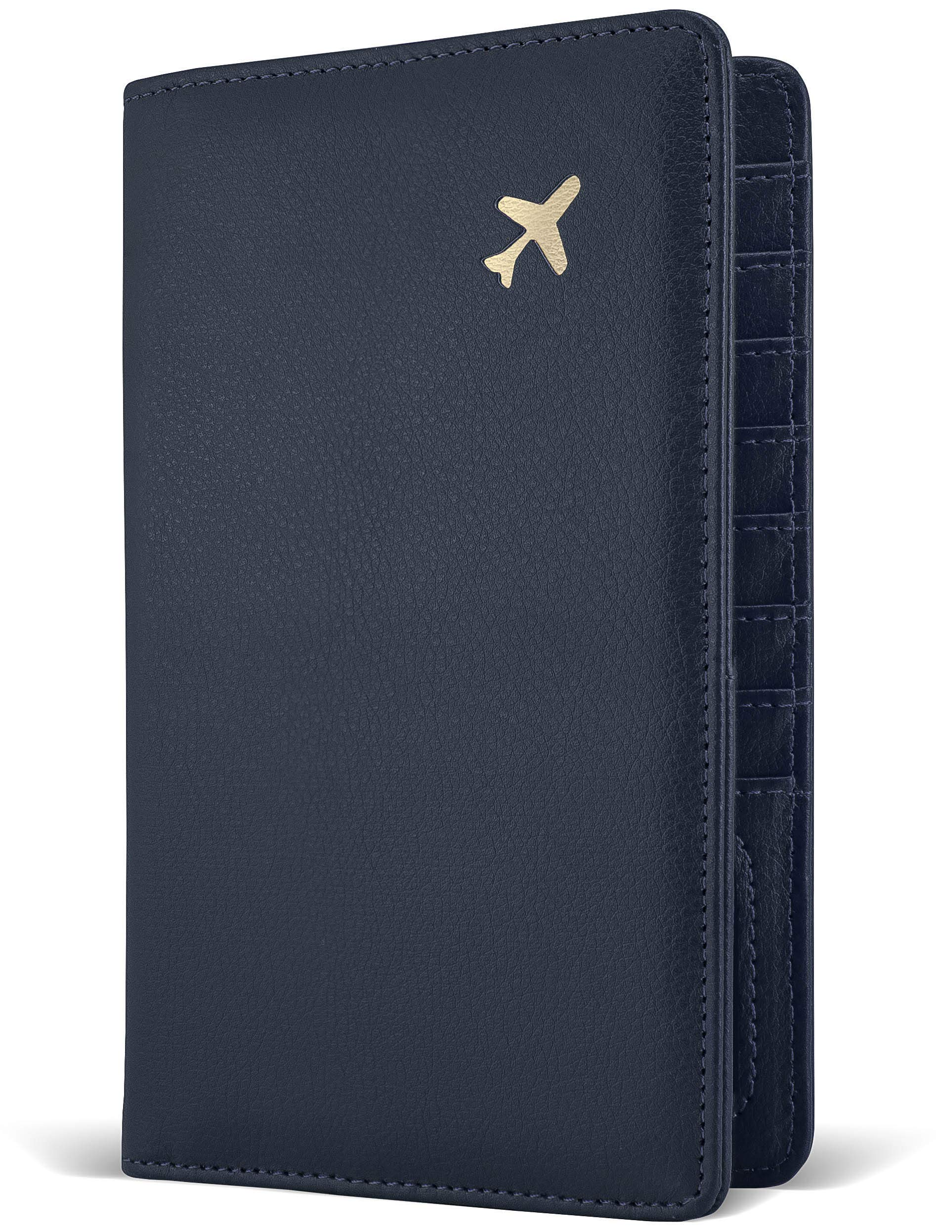 Passport Holder by POCKT - RFID Blocking Travel Wallet for Safe Trip, Document Organizer + Gift Box | Midnight Navy