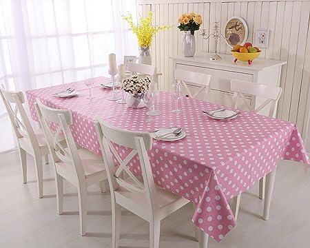 Baby Pink Polka Dot PVC Tablecloth Vinyl Oilcloth Kitchen Dining Table