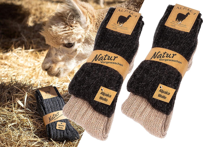 4 pares de calcetines de alpaca, super cálidos, colores naturales (43/46, marrón/beige): Amazon.es: Ropa y accesorios