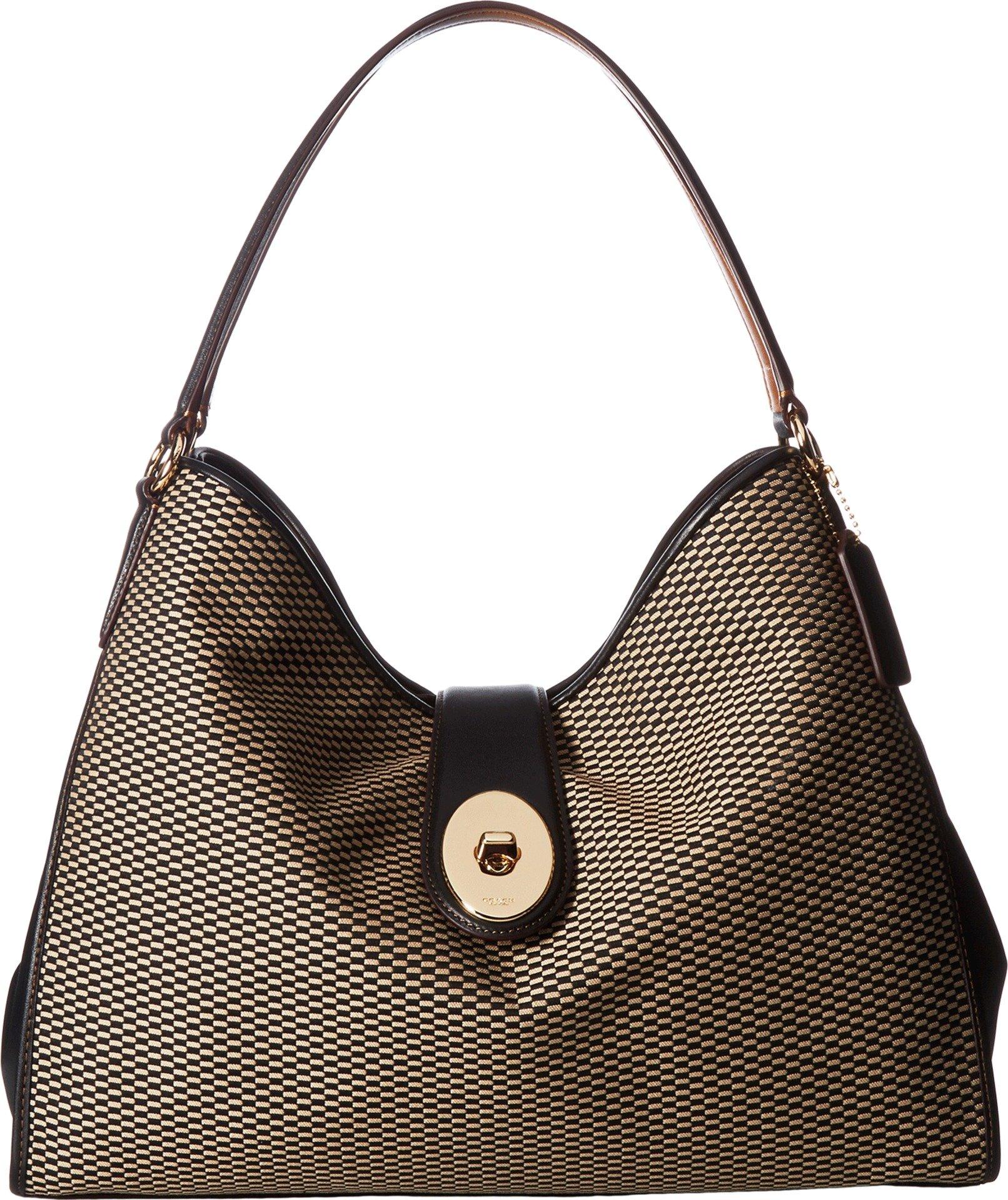 COACH Women's Madison Exploded Reps Carlyle Shoulder Bag Milk/Black Handbag