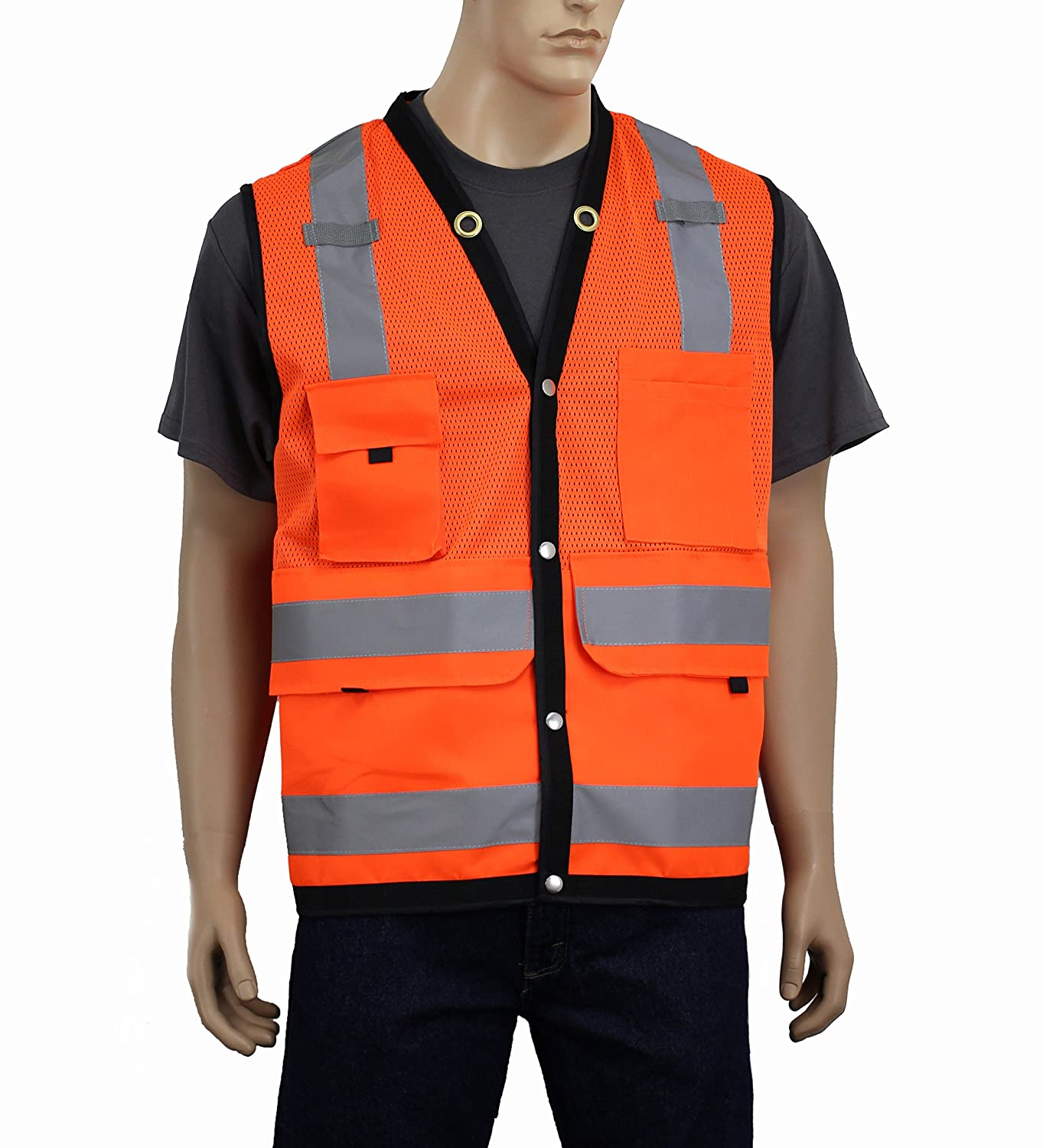 Orange, 3XL Mic Tabs /& High Visibility Reflective Tape SURV Safety Depot Breathable Surveryor Vest ANSI Class 2 Approved Large Deep Pockets