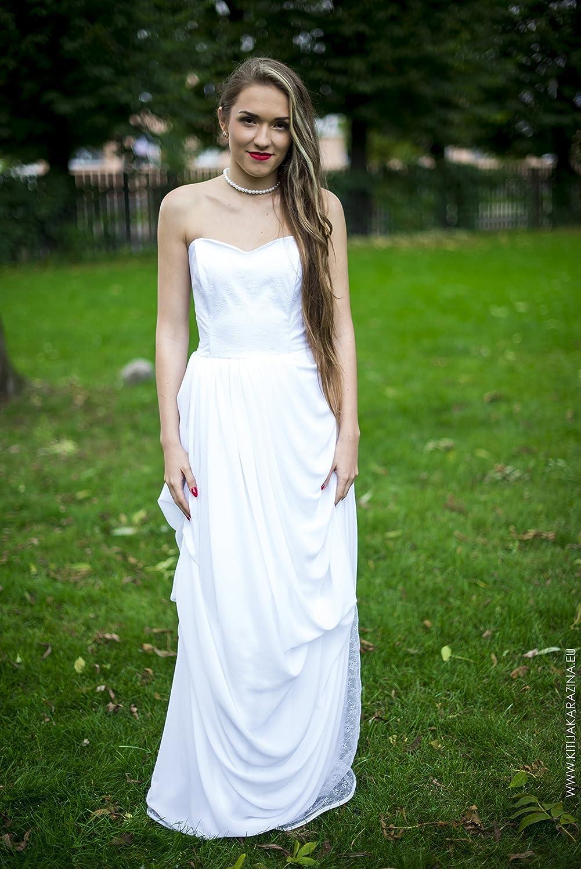 Amazon Com Greek Style Snow White Wedding Dress Handmade