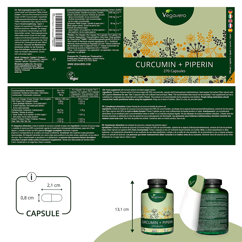 Curcumina 1140mg + Piperina 28,5mg Vegavero® | 270 CÁPSULAS | Extracto Estandarizado al 95% | Sin Aditivos | Antiinflamatorio + Articulaciones + ...