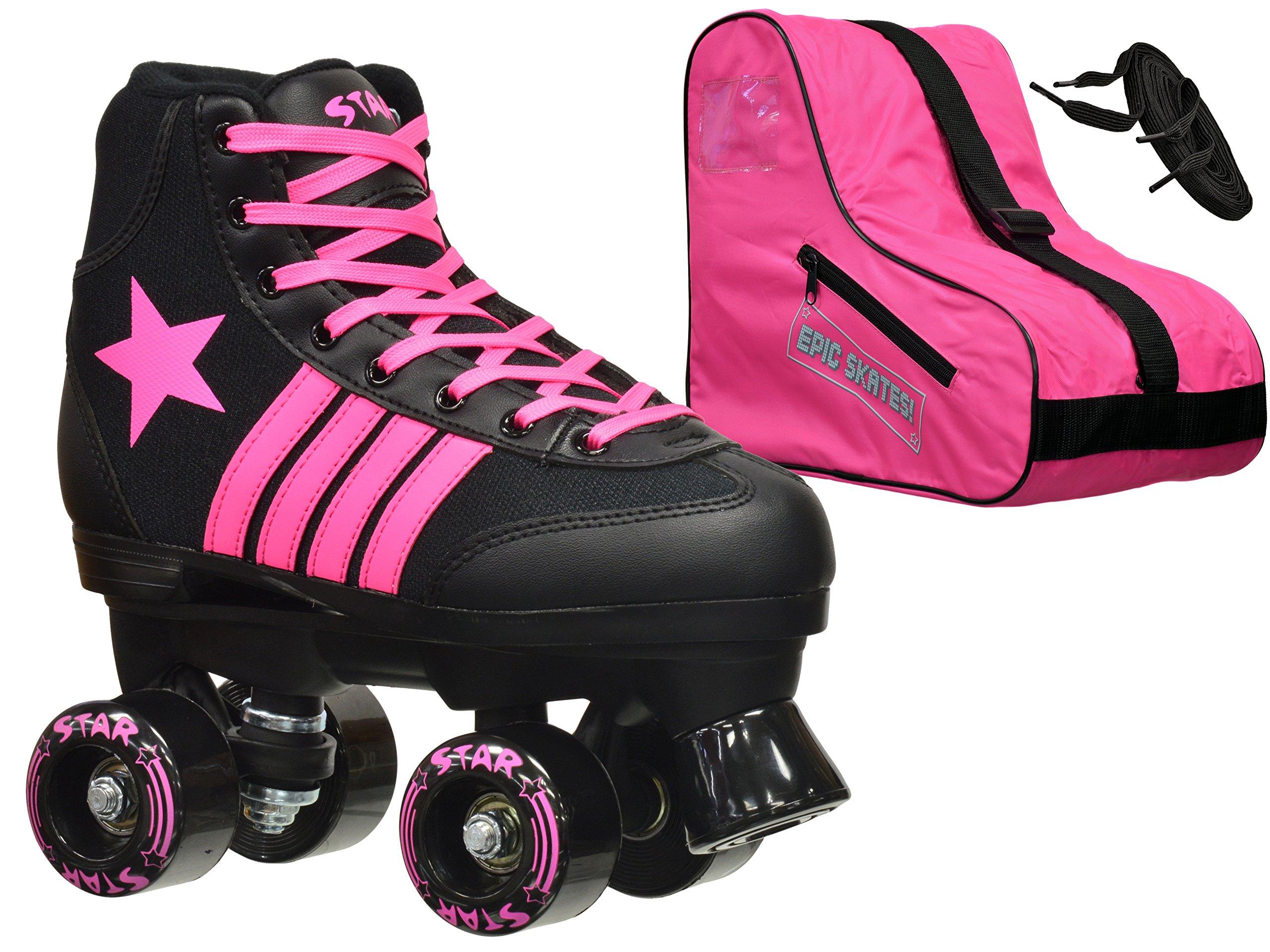 New! 2016 Epic Star Vela Indoor Outdoor Classic High-Top Quad Roller Skate 3 Pc. Bundle w/ Bag & Laces (Pink & Black) (Adult 6)