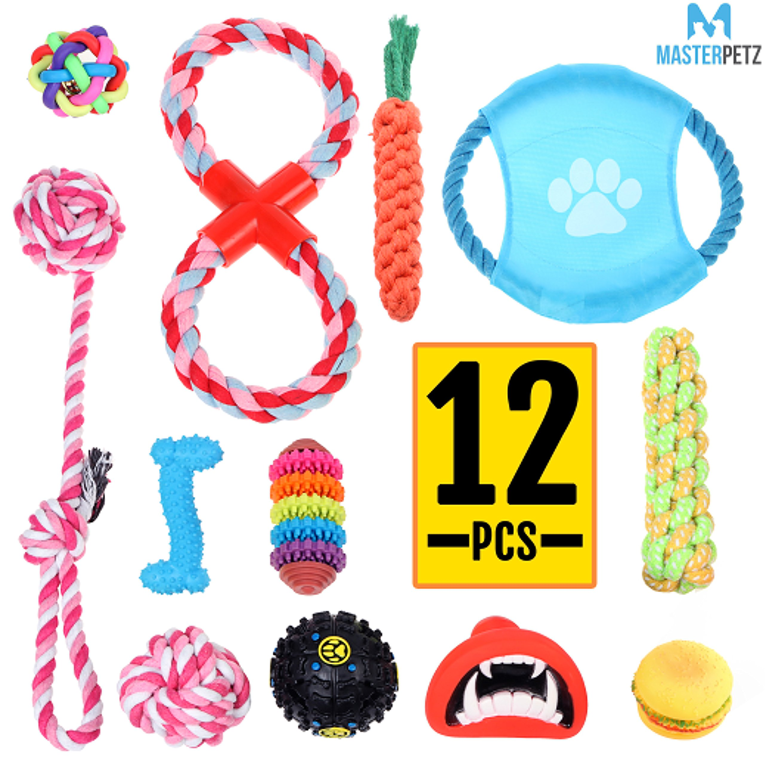 MASTERPETZ Set of 12 Pcs Assorted Dog Toy Set Ball Rope and Chew Squeaky Toys for Small Medium Dog, Excellently Clean Teeth and Massage Gum, Educational Dog Toy to Stimulate Pet Mentally Physically