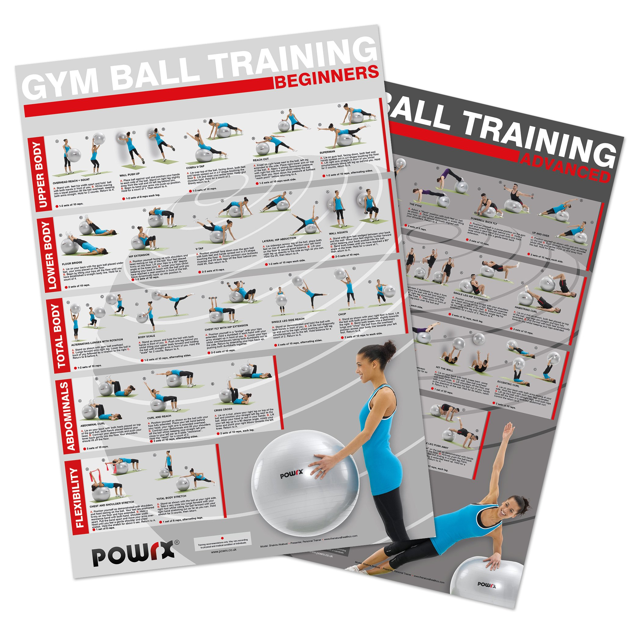 Gym Ball Exercise Yoga Ball Workout, Complete Body Workout. Set of 2 Charts, 40 new exercises with training guide in sets/reps.For upper body, legs and gluts, abs, core and flexibility.