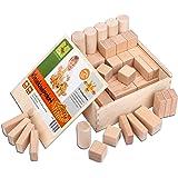 CreaBLOCKS Holzbausteine für Kleinkinder Set 54-teilig für Kinder ab 6 Monate   unbehandelte Holzbauklötze Made in Germany   Bauklötze-Set inkl. Box mit Deckel