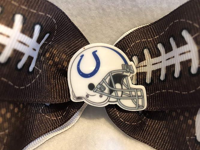7c9733e9 Amazon.com: Indianapolis Colts Hair Bow, Football Hair Bow, Football Hair  Accessories, Football Hair Clip: Handmade