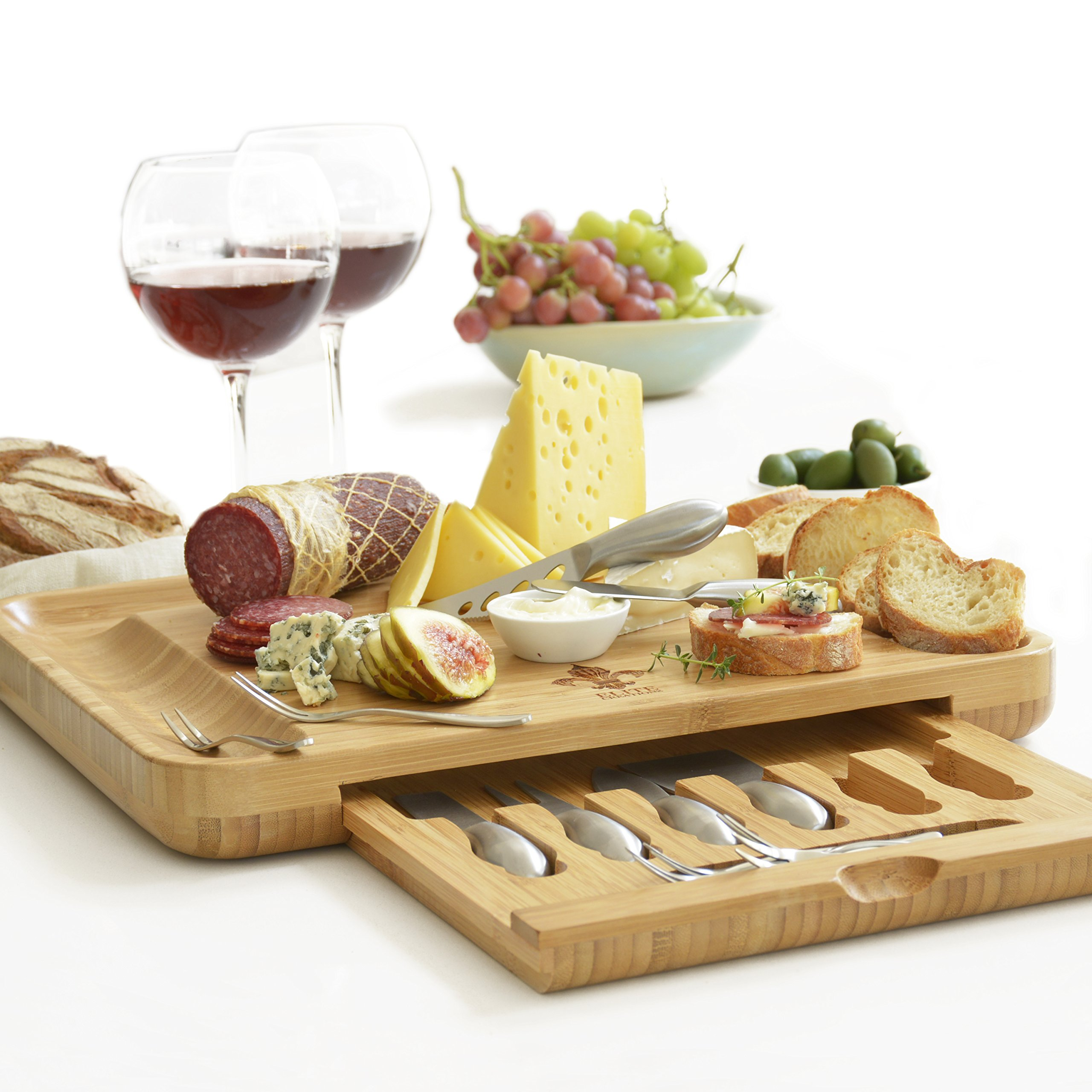 Deluxe cheese board & utensils gift set – extensive serving set - large 100% bamboo board & 6 stainless steel cheese knives & 6 appetizer forks by elite creations (silver)