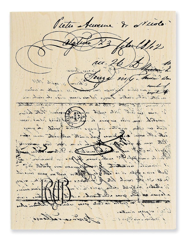 STAMPENDOUS Wood Handle Rubber Stamp, Vintage Letter Inc. R221
