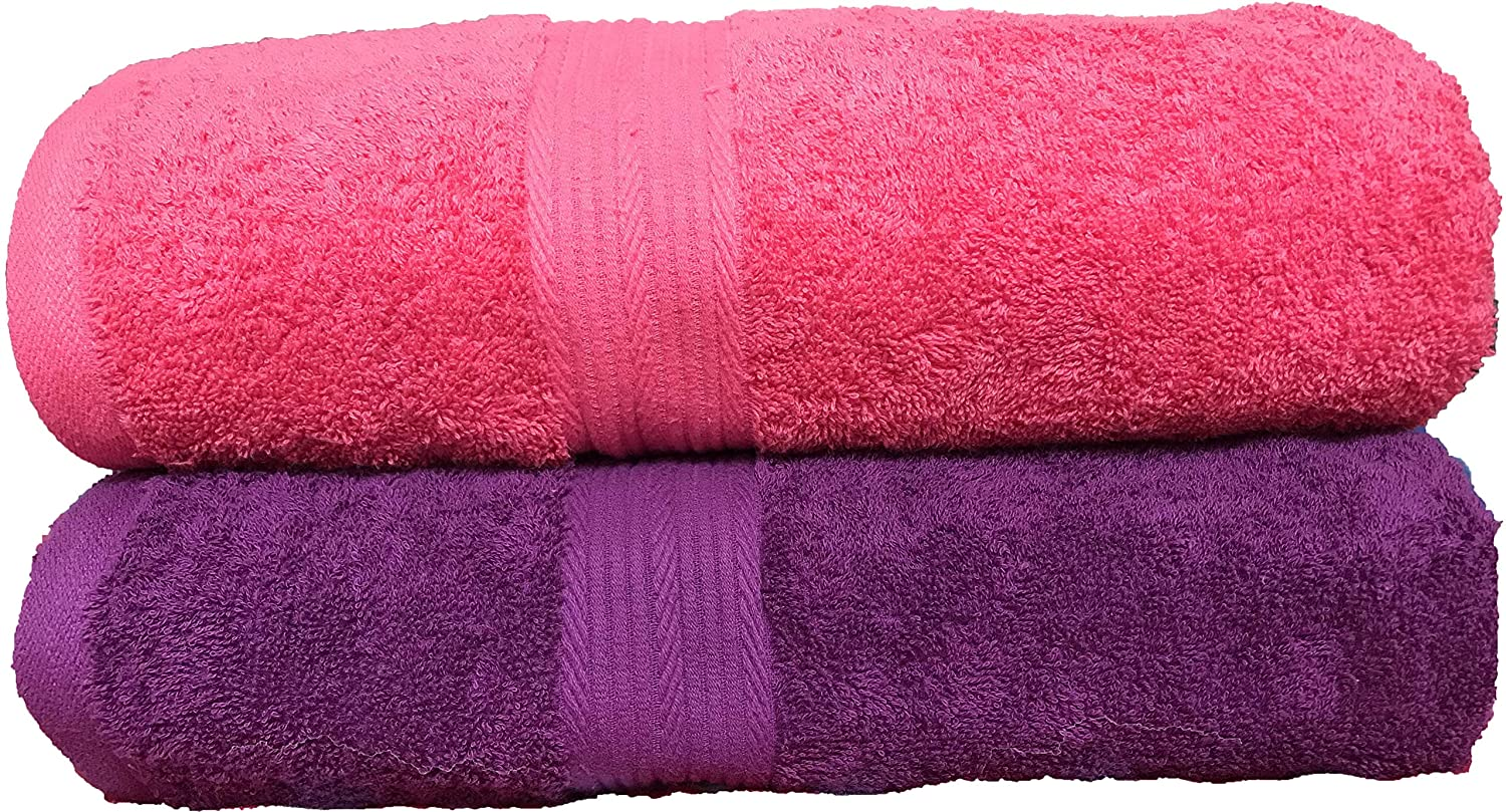 5be53ec928b Tribecca 2 Piece 500 GSM Large Cotton Bath Towel Set   140 x 70 cm (Pink  Purple)  Amazon.in  Home   Kitchen