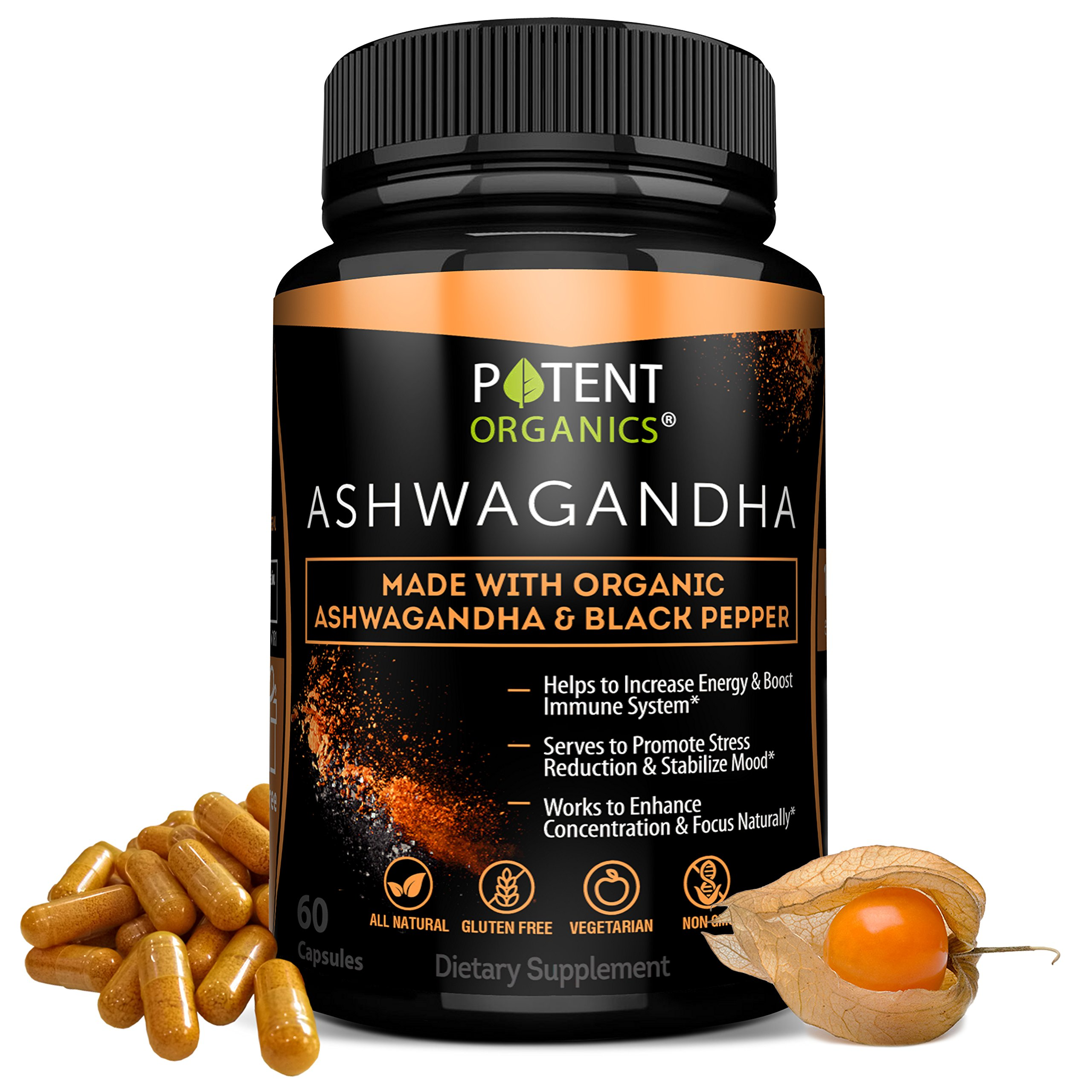 100% Organic Ashwagandha 1300 mg - Natural Energy & Immune System Booster - Stress & Anxiety Relief - Organic, Vegetarian & GMO-Free – 60 Capsules with Black Pepper for Absorption