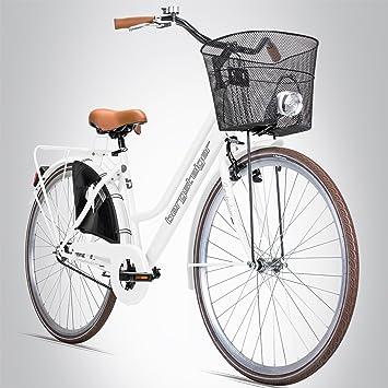 Escalador Amsterdam 28 pulgadas – Bicicleta para mujer, cesta + luz, Retro de diseño, shiny white: Amazon.es: Deportes y aire libre