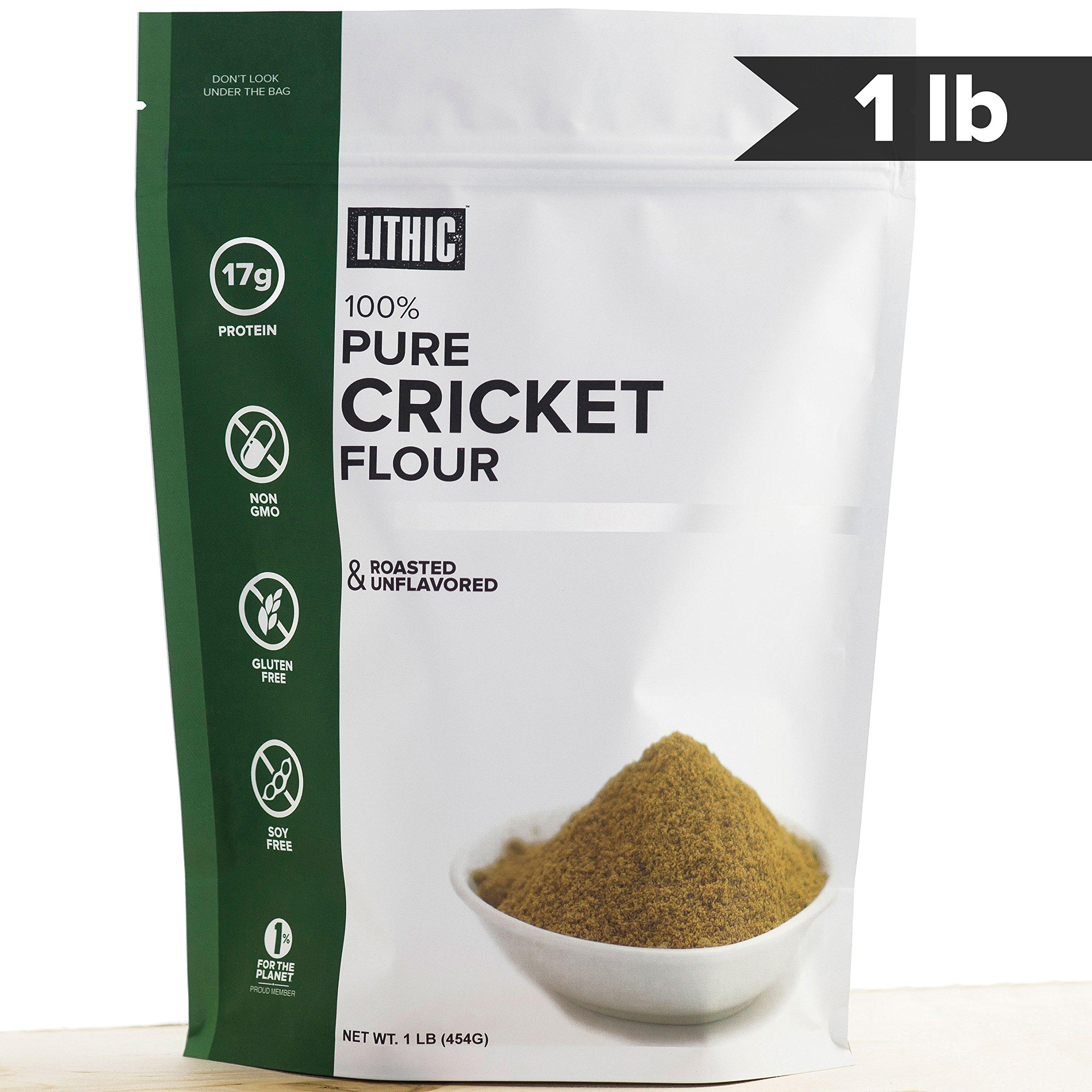 Cricket Flour, Keto Protein :: 1LB (454g) :: 100% Pure Cricket Powder :: Keto Flour, Paleo Flour, Sustainable Food, Whole 30 Friendly, Gluten Free Flour : Lithic Cricket Flour