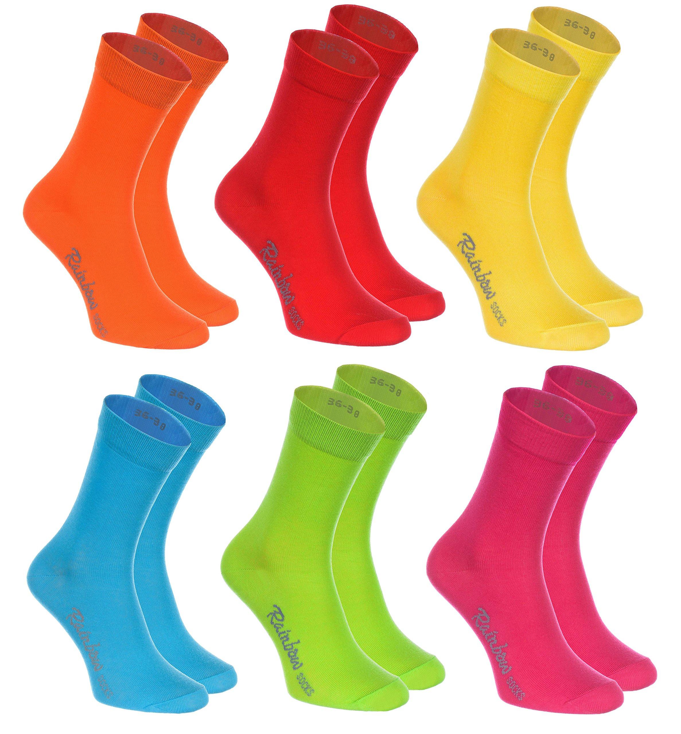 Rainbow Socks 6, 9 o 12 pares de Calcetines de algodón en 12 colores de moda producidos en la UE, la alta calidad de algodón certificado Oeko-Tex, tallas: 36, 37, 38, 39, 40, 41, 42, 43, 44, 45 46 by product image