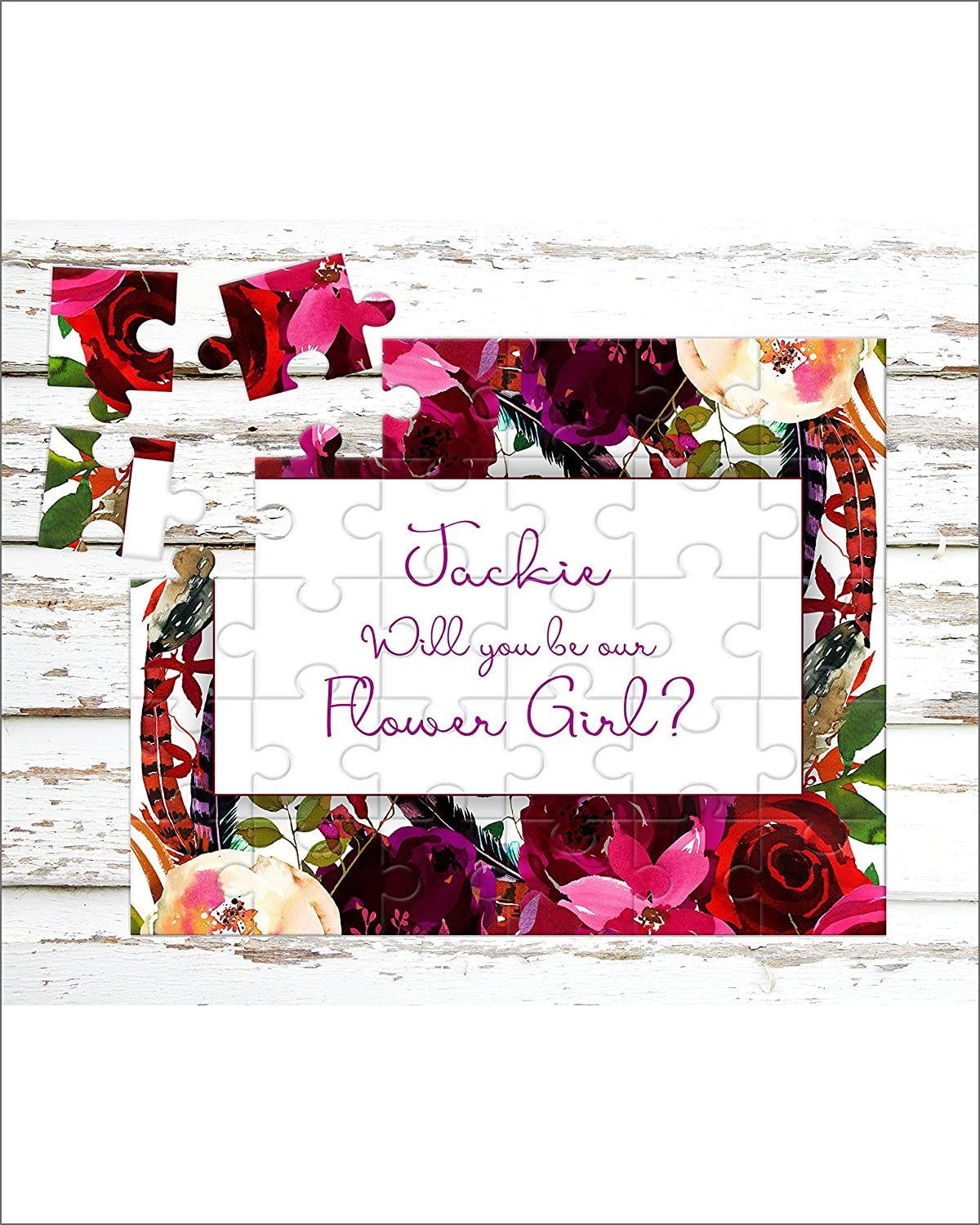 Personalized Flower Girl Puzzle - Puzzle Proposal - Asking Flower Girl - Wedding Announcement - P0271