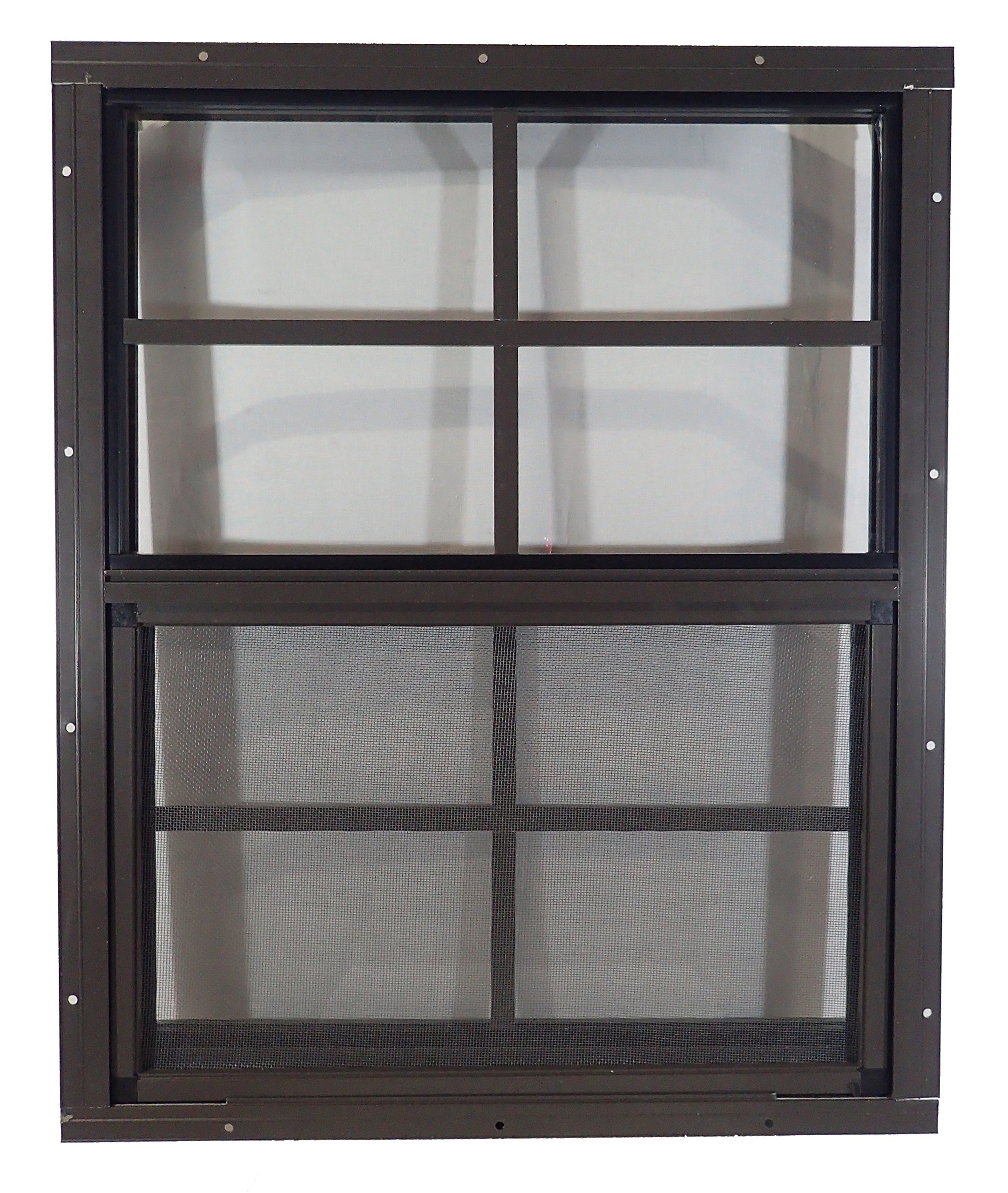 Shed Windows 18'' W x 23'' H - Flush Mount - Playhouse Windows (Brown) by Outdoor Play and Storage