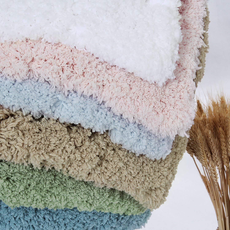 Blanc 120x80cm, 120x80cm Norcho Tapis de Bain Anti-Glissant Antibacterienne Microfibre Carpette Souple pour Salle de Bain