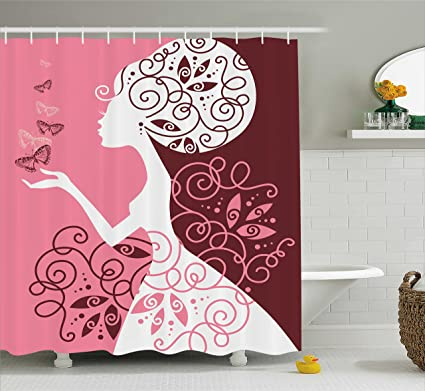 Ambesonne Pink Shower Curtain Artistic Drawing Girl With Butterflies Floral Ornaments Swirled Branches Fabric
