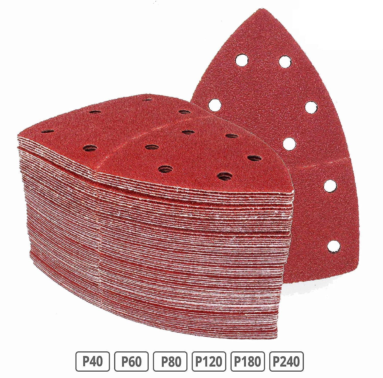 Lot de 120 feuilles abrasives 105 x 152 mm Grain 20 x 40/60/80/120/180/240 pour ponceuse multifonction FD-Workstuff