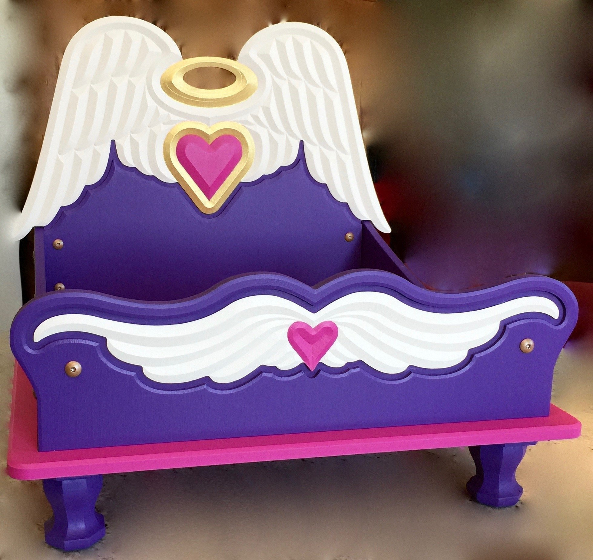Boutique Mini Bed with Carved Detailing (Purple with Hot Pink Accents)