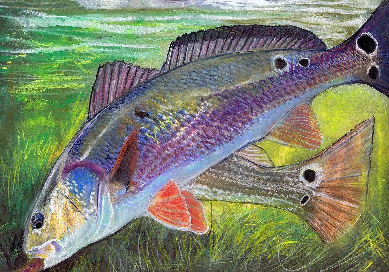 Redfish Wall Art, Redfishing Art Print, Red Drum Print, Hand Signed Fishing Gift By Jack Tarpon, Colorful Sport Fish Pastel Painting