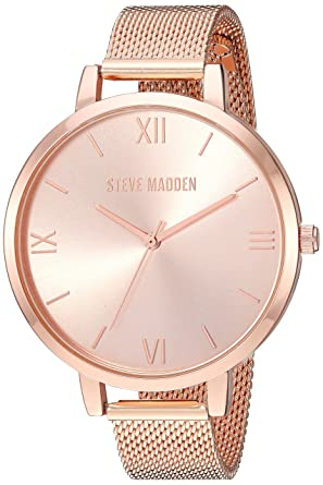 Steve Madden Womens Quartz Watch with Alloy Strap, Rose Gold, 13.1 (Model: