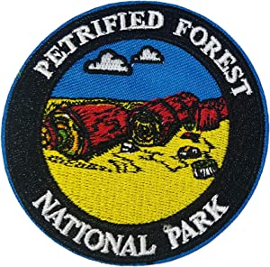 """Petrified Forest National Park 3"""" Embroidered Patch DIY Iron or Sew-on Decorative Vacation Travel Souvenir Applique Wander Nature Wildlife Hike Trek Camping Explore Mountains Stars Moon Sun Sky Trails"""