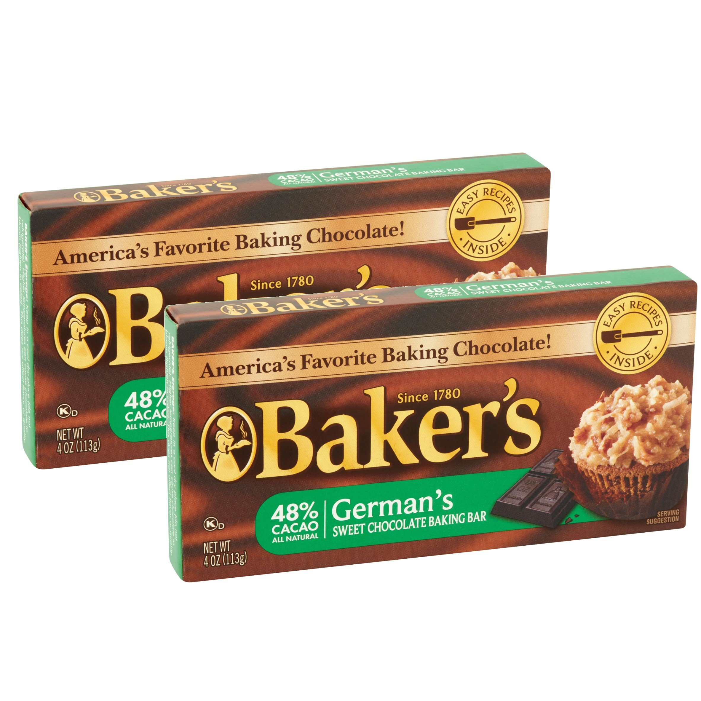 Lot of 2 Baker's 4 oz. Sweet Chocolate Bar-German's All Natural 48% Cacao