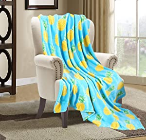 Valerian Luxury Velvet Super Soft Light Weight Blanket Prints Fleece Year Round Home Decor Fuzzy Warm and Cozy Throws, Couch and Gift, 50 x 60 inch, Pineapple