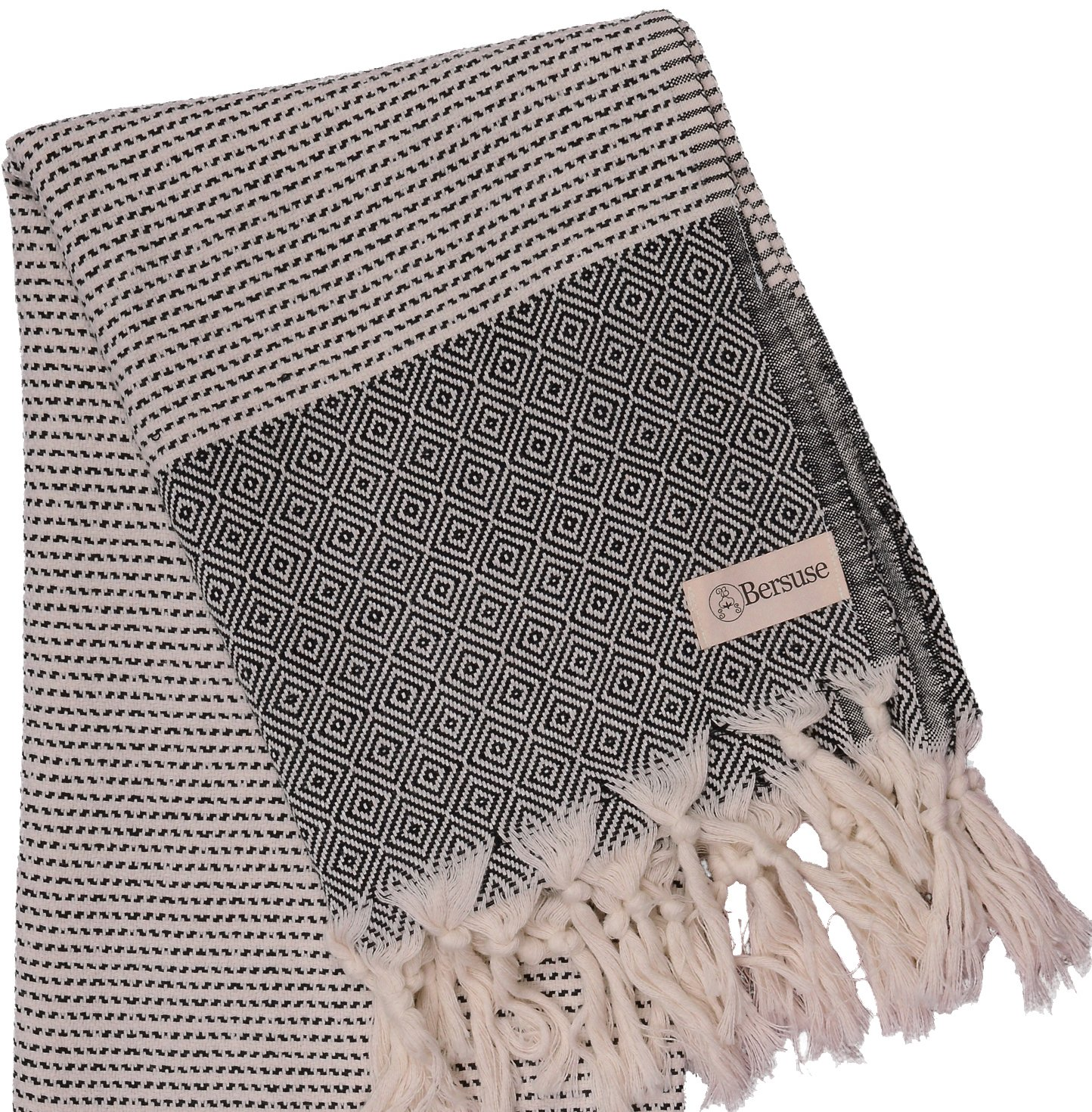 Bersuse 100% Cotton Hierapolis XL Blanket Turkish Towel, 60X95 Inches, Black - LARGE AND STYLISH: Offers soft, relaxing comfortability for indoor/outdoor, home, beach, camping, picnic, or travel. Add gorgeous value and elegance to a couch, chair or bed by choosing a color that matches your bedroom or living room decor. ABSORBENT & GENTLE ON SKIN: Our linen flat woven towels dry you off quickly. They are ultra soft and great for infants, baby care, toddlers and adults with sensitive skin. QUICK DRYING: Dries way more quickly both by air and tumble drier. They are -unlike fluffy cotton towels- so they do not get smelly. - blankets-throws, bedroom-sheets-comforters, bedroom - 917DslllivL -