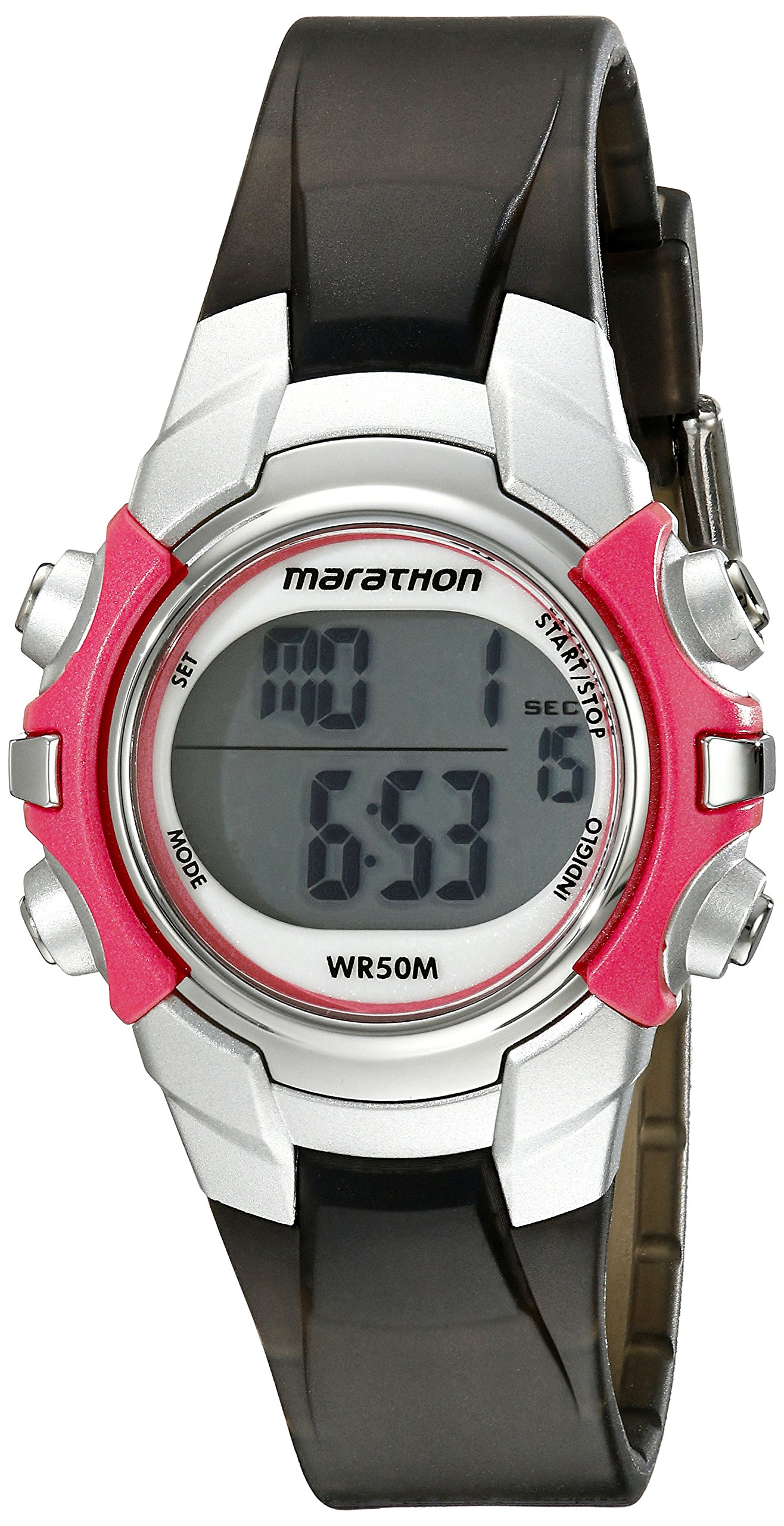 Marathon by Timex Unisex T5K807 Digital Mid-Size Gray/Coral Resin Strap Watch