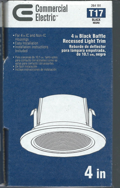Commercial Electric 4 Inch CE Black Baffle Trim (T17) - - Amazon.com