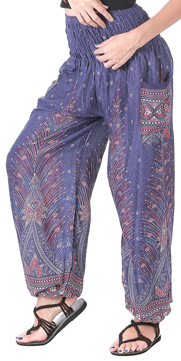 a078a5bdc9 BREATHABLE, SILKY SOFT RAYON FABRIC: Made out of rayon fabric, CandyHusky  printed harem pants are silkier, softer & smoother than your average loose  fit ...