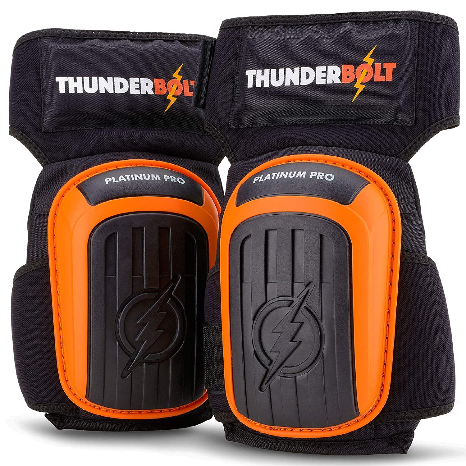Knee Pads for Work by Thunderbolt for Construction, Flooring, Gardening, Cleaning, Tile Heavy Duty with Gel Cushion and Anti-Slip Straps