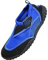 Nalu Velcro Aqua Surf / Beach / Wetsuit Shoes (Kids UK 11 / EU 29, Blue with Black Trim)