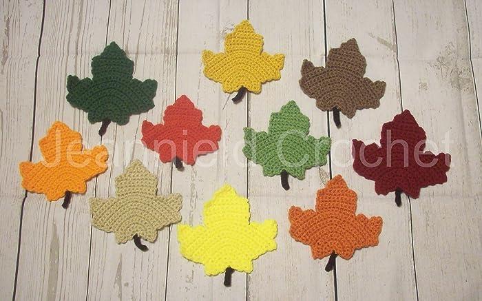 Amazon Hand Crocheted Maple Leaf Coasters Decorations Set