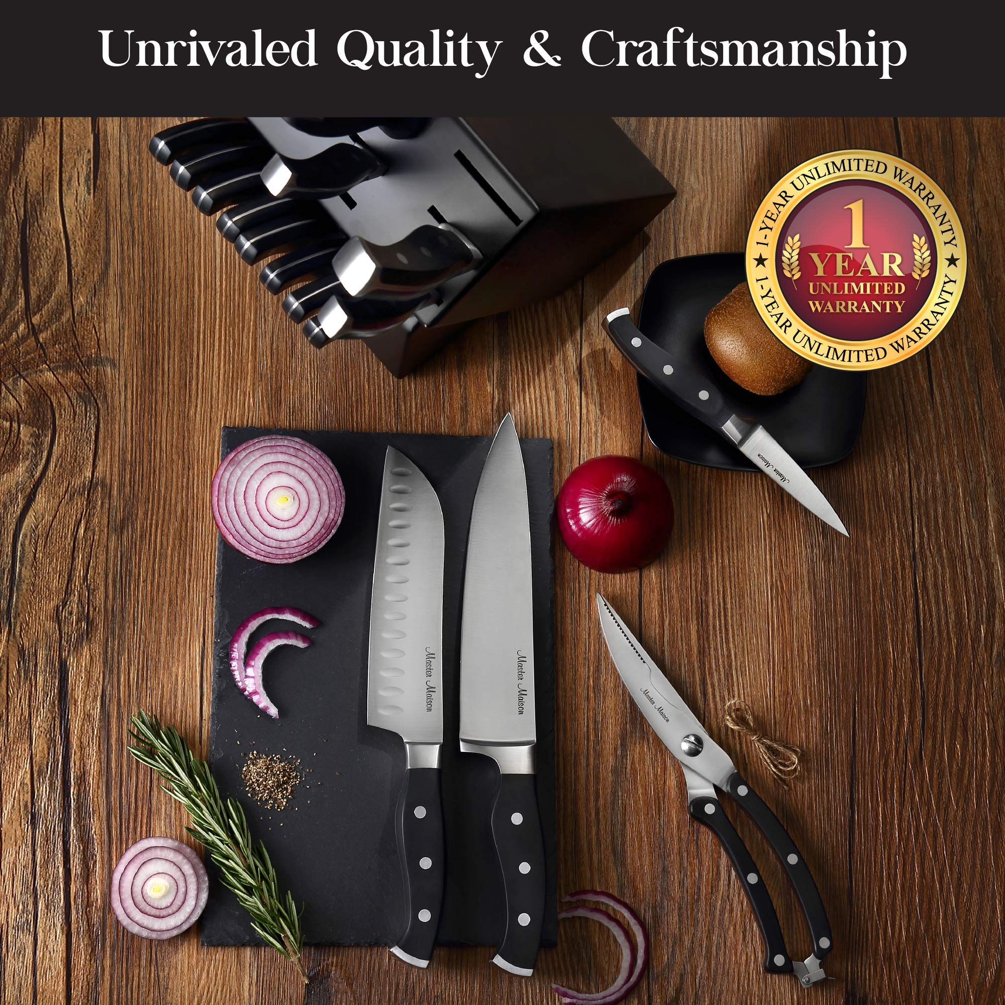 19-Piece Premium Kitchen Knife Set With Wooden Block | Master Maison German Stainless Steel Cutlery With Knife Sharpener & 8 Steak Knives by Master Maison (Image #6)