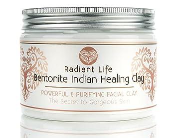 Bentonita curación máscara de arcilla - Arcilla curativa india de bentonita 100% natural para eliminar manchas, ideal para el estiramiento de la piel Grasa ...