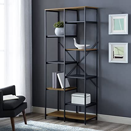 WE Furniture AZS68STRRO Mixed Material Bookshelf Rustic Oak