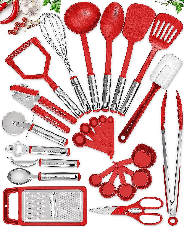 25 Kitchen Utensil Set Home Hero - Nylon Cooking Utensils - Kitchen Utensils with Spatula - Kitchen Gadgets Cookware Set - Kitchen Tool Set- Red