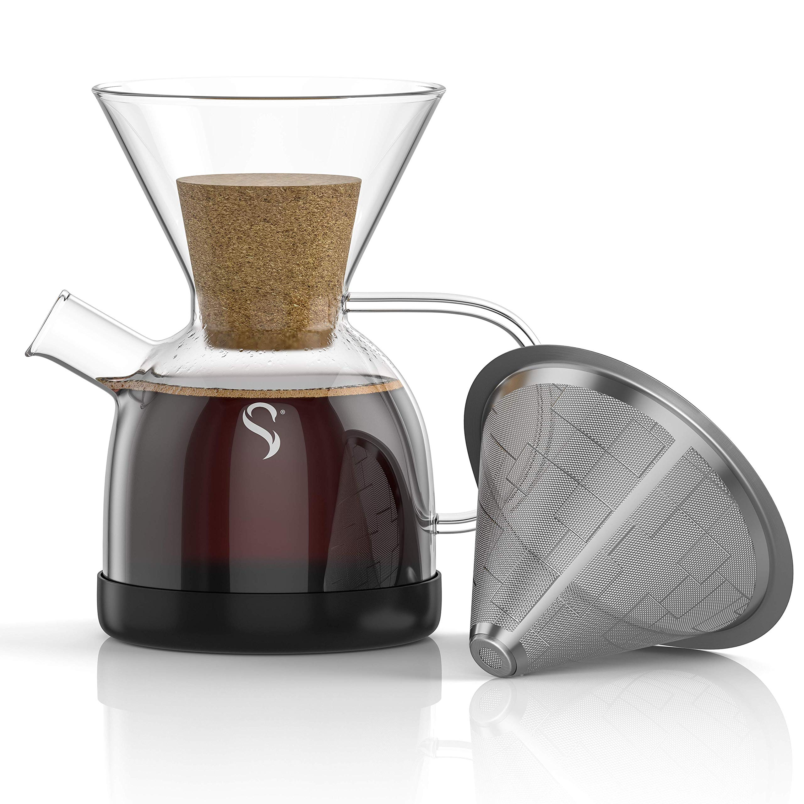 Shanik Pour Over Coffee Maker with Handle - Borosilicate Glass Coffee Maker - Drop Resistant Silicone Base - Rust Resistant Stainless Steel Paperless Filter/Dripper - 0.5L / 17oz