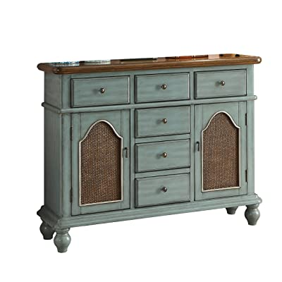 ACME Furniture 90290 Telissa Console Table, Antique Blue And Oak