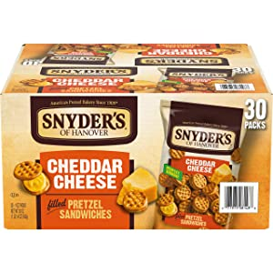 Snyder's of Hanover Pretzel Sandwiches, Cheddar Cheese, Individually Wrapped Snacks (30 Count)