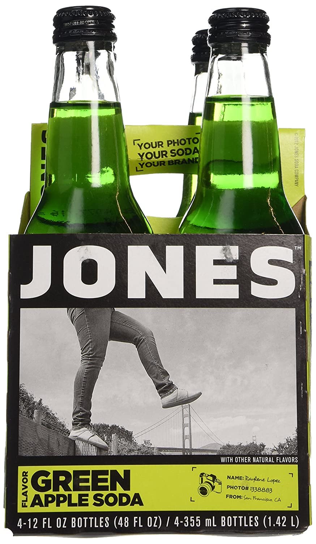 Jones Soda, Green Apple, 12 Fl Oz (Pack of 4)
