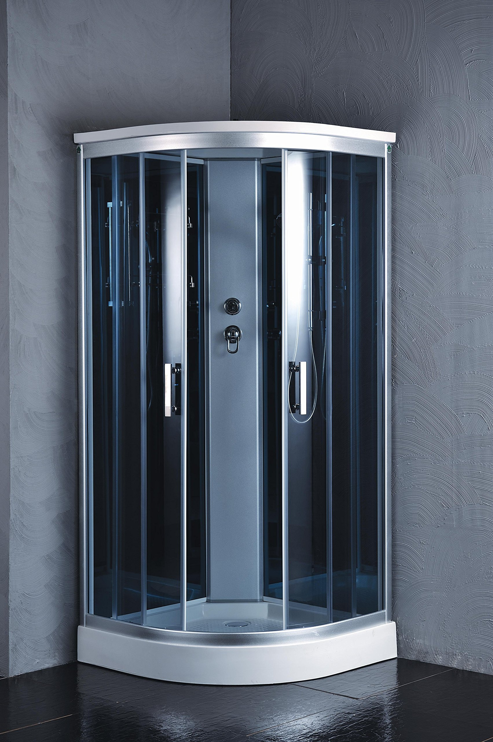 """Luxury Kokss 9918 Shower enclosure 36"""" x 36"""" Multi function hand shower and overhead rain. Modern shower enclosure with futuristic look, Computer control panel, home bathroom design by bath masters (Image #1)"""