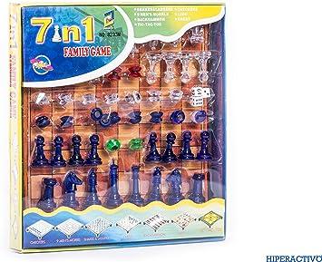 Juego de Mesa 7 en 1: Ajedrez, Damas, Juego del Molino, Serpientes y Escaleras, Backgammon, Ludo y Tres en Raya: Amazon.es: Juguetes y juegos