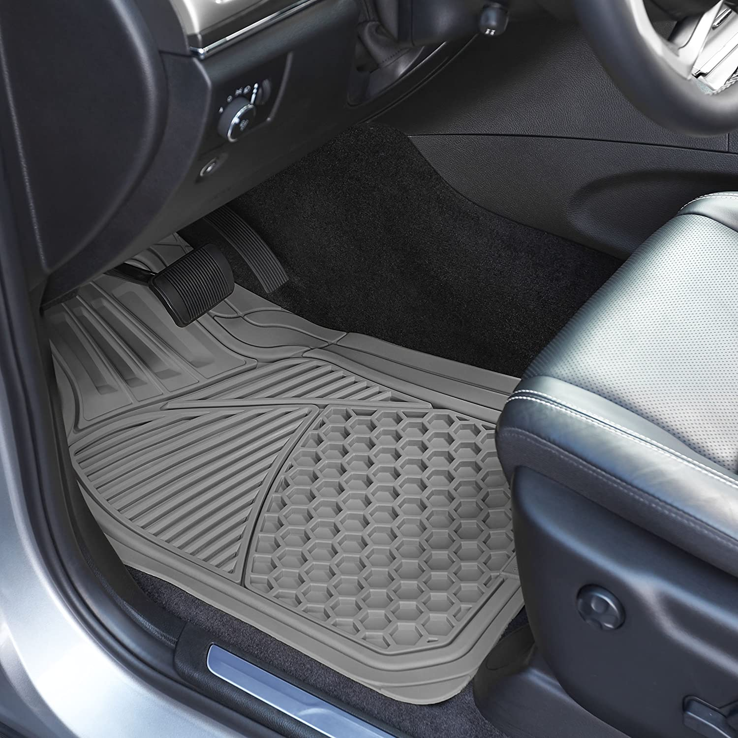 Black Basics 4 Piece Heavy Duty Car Floor Mat