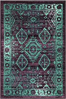 product image for Georgina Traditional Kitchen Rugs Non Skid Accent Area Carpet [Made in USA], 2'6 x 3'10, Winberry/Teal