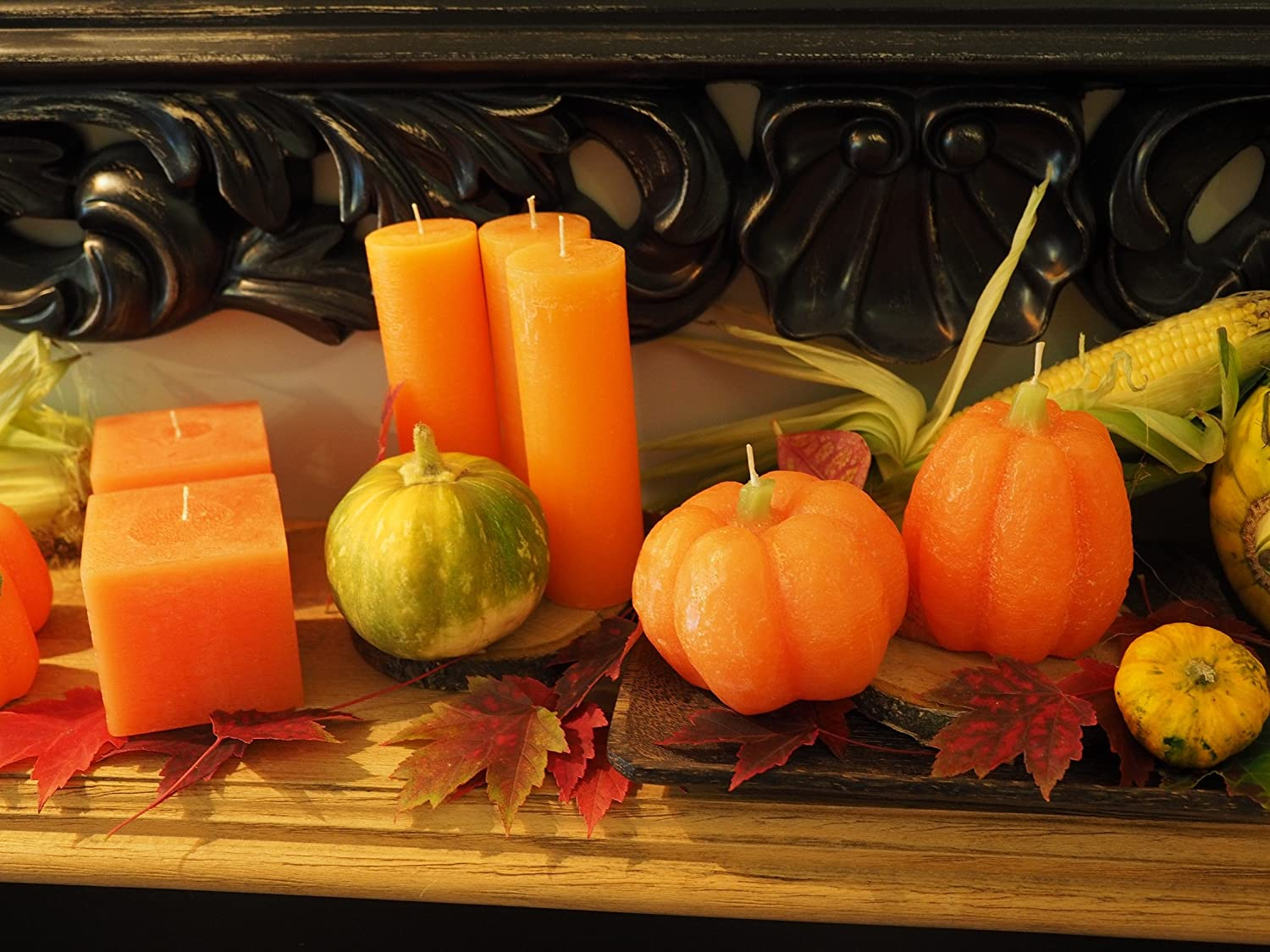 Set of 2 Candle Atelier Large Pumpkin Handmade Cast Candles Fragrance-Free